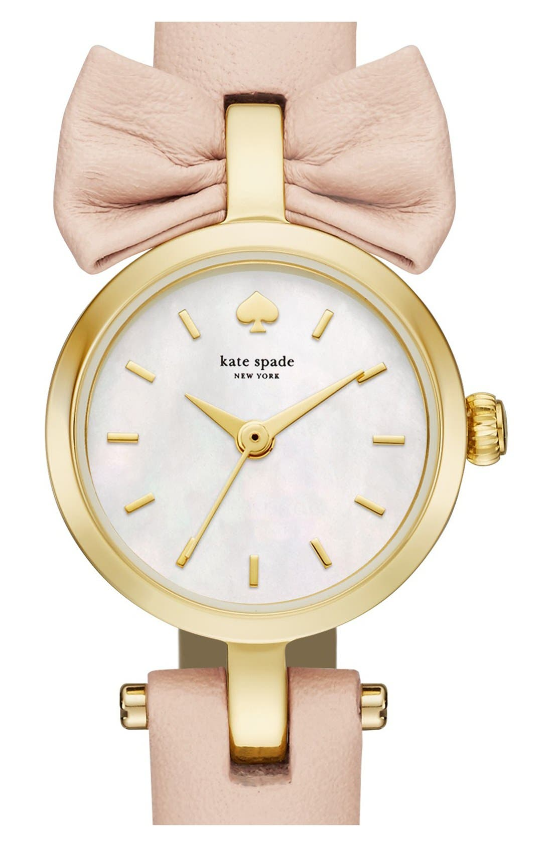 Main Image - kate spade new york 'tiny metro - bow' leather strap watch, 20mm