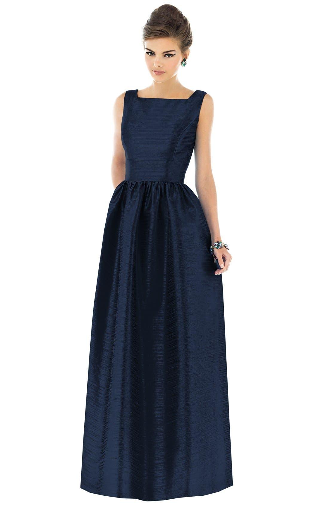 Alfred Sung Square Neck Dupioni Full Length Dress
