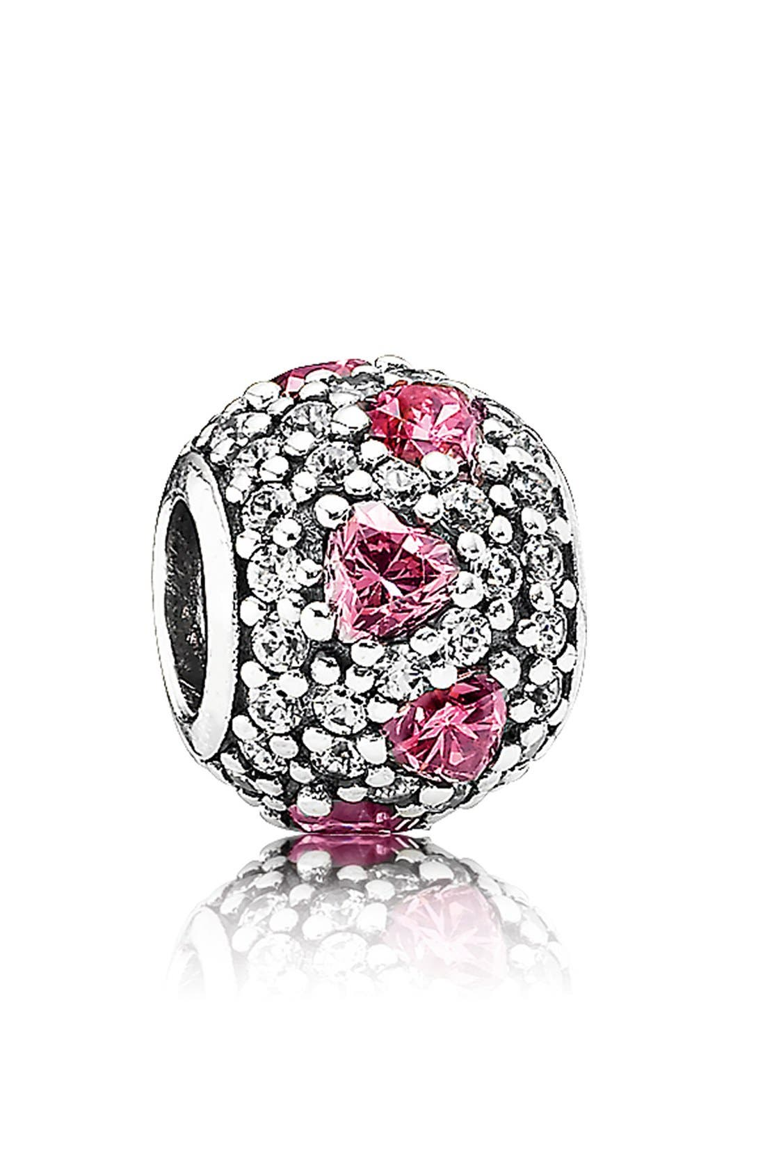 Alternate Image 1 Selected - PANDORA 'Shimmering Heart' Pavé Bead Charm