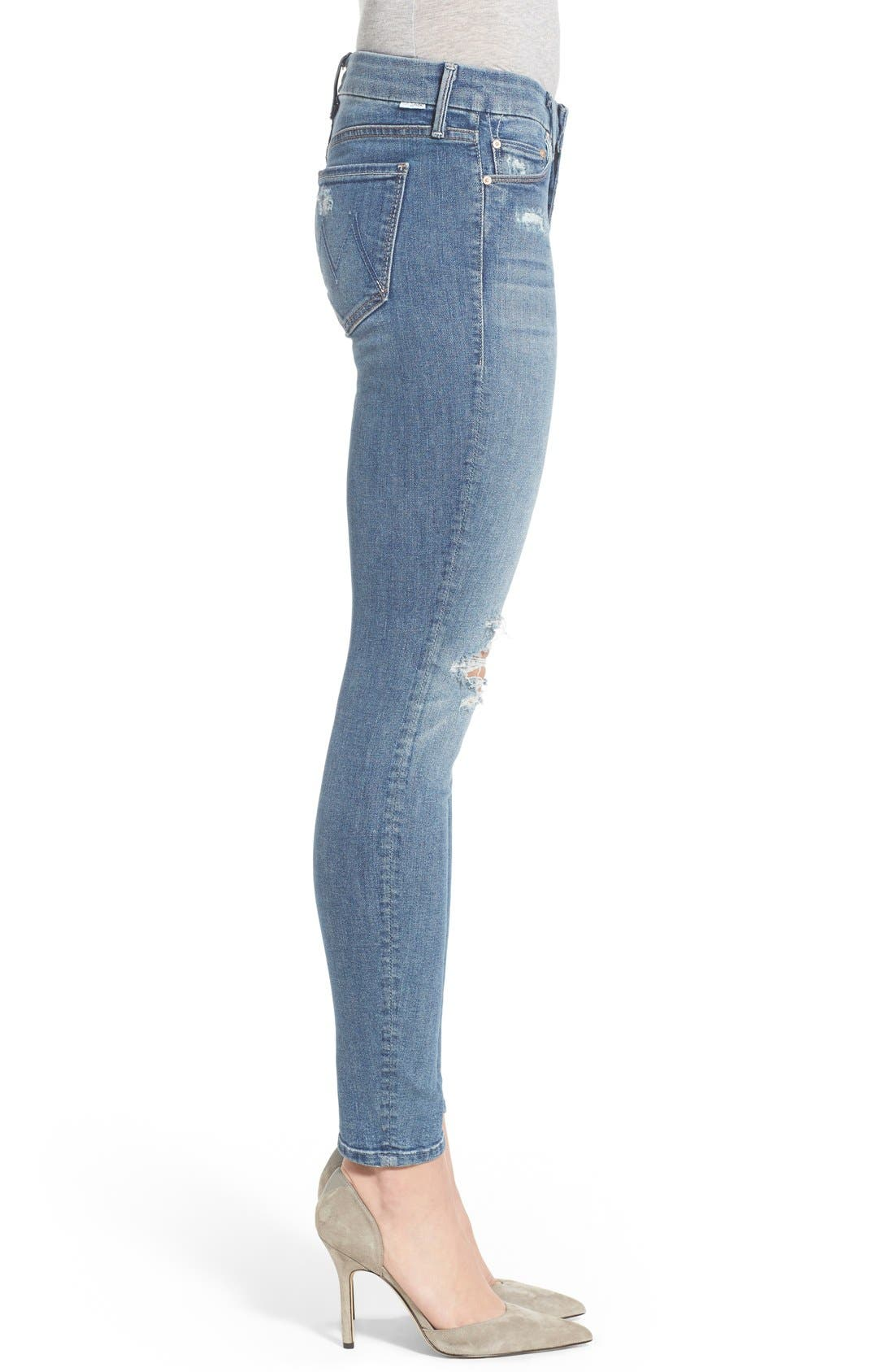 Alternate Image 3  - MOTHER 'The Looker' Distressed Skinny Jeans (Cowboy)