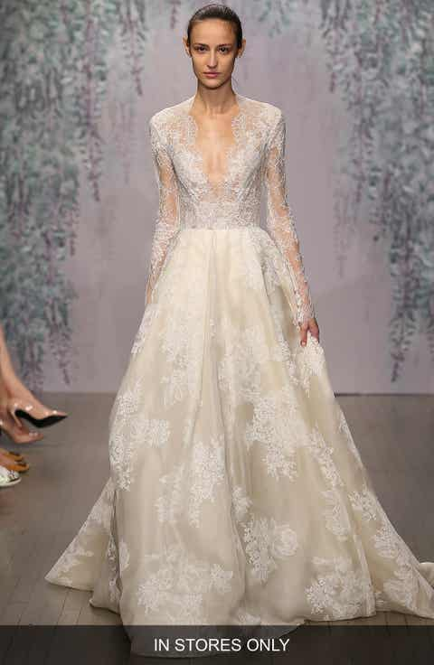 Monique Lhuillier 'Winslet' Plunging V-Neck Organza   Lace Ballgown Dress (In Stores Only)