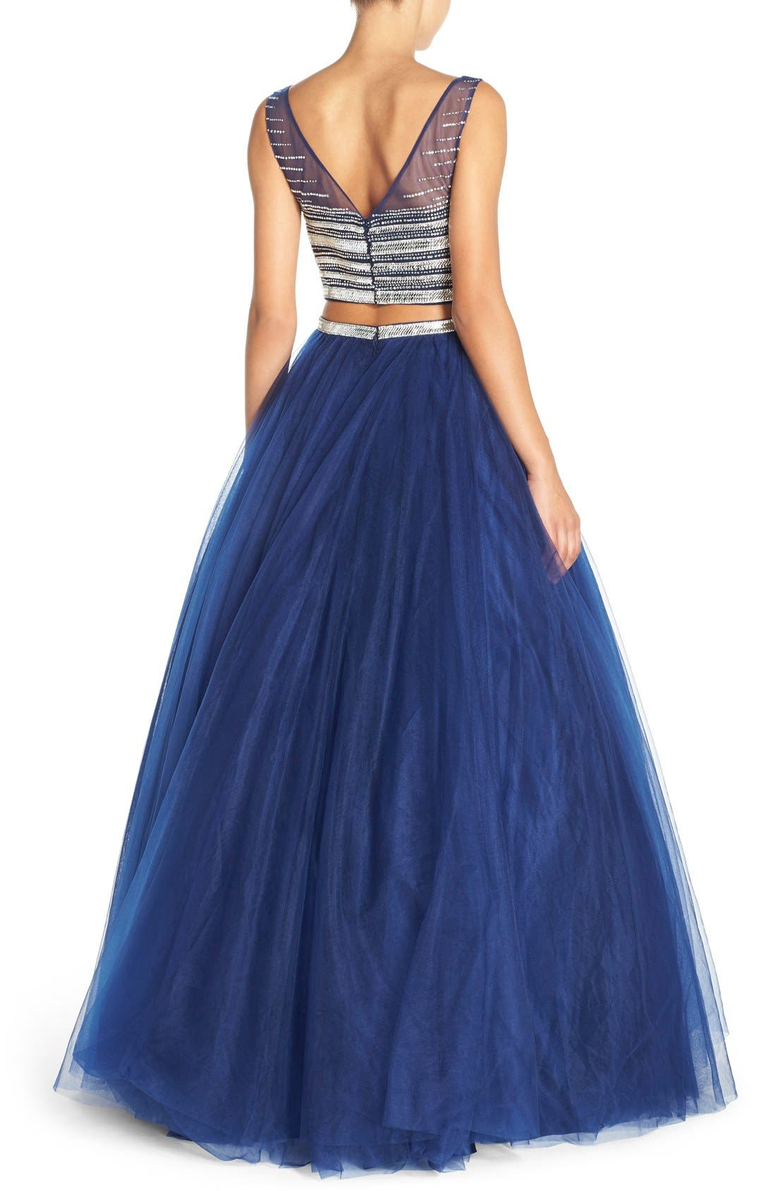Alternate Image 2  - JVN by Jovani Embellished Top & Mesh Two-Piece Ballgown
