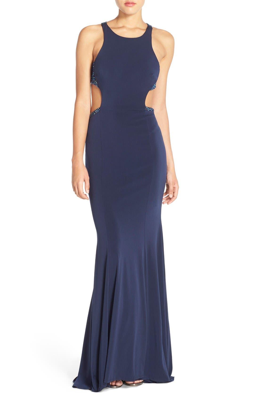 Main Image - La Femme Embellished Illusion Jersey Gown