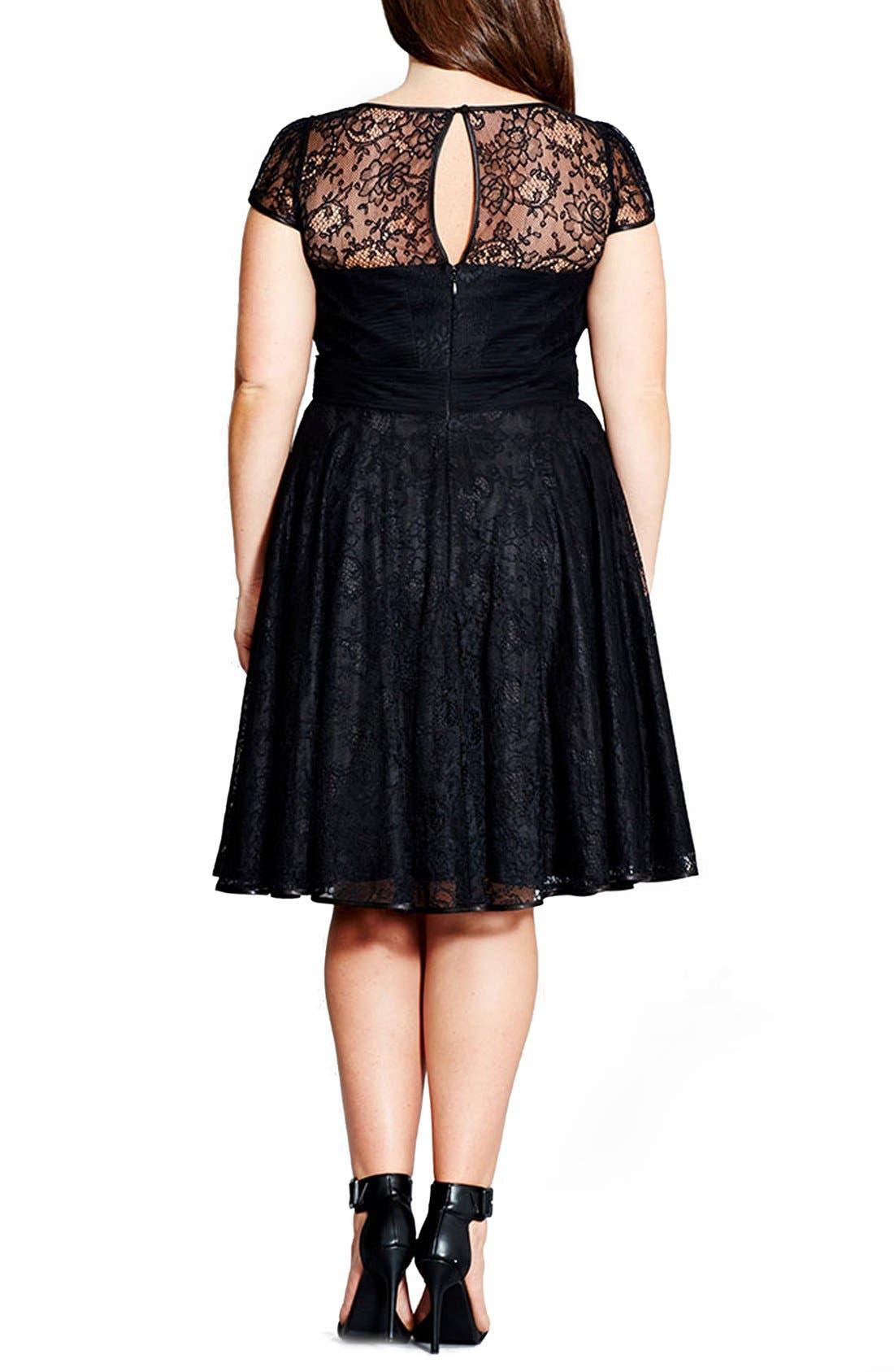 Alternate Image 2  - City Chic 'Audrey' Lace Fit & Flare Dress (Plus Size)
