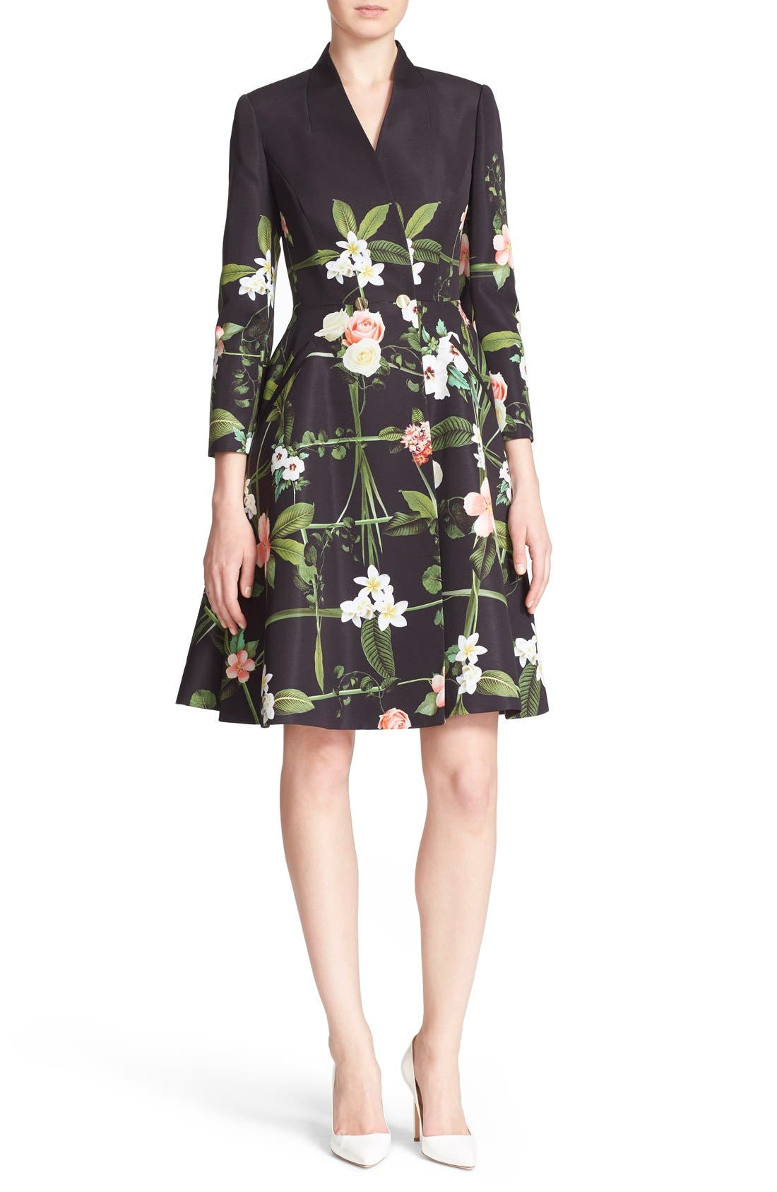 Main Image - Ted Baker London 'Giova' Floral Print Fit & Flare Coat