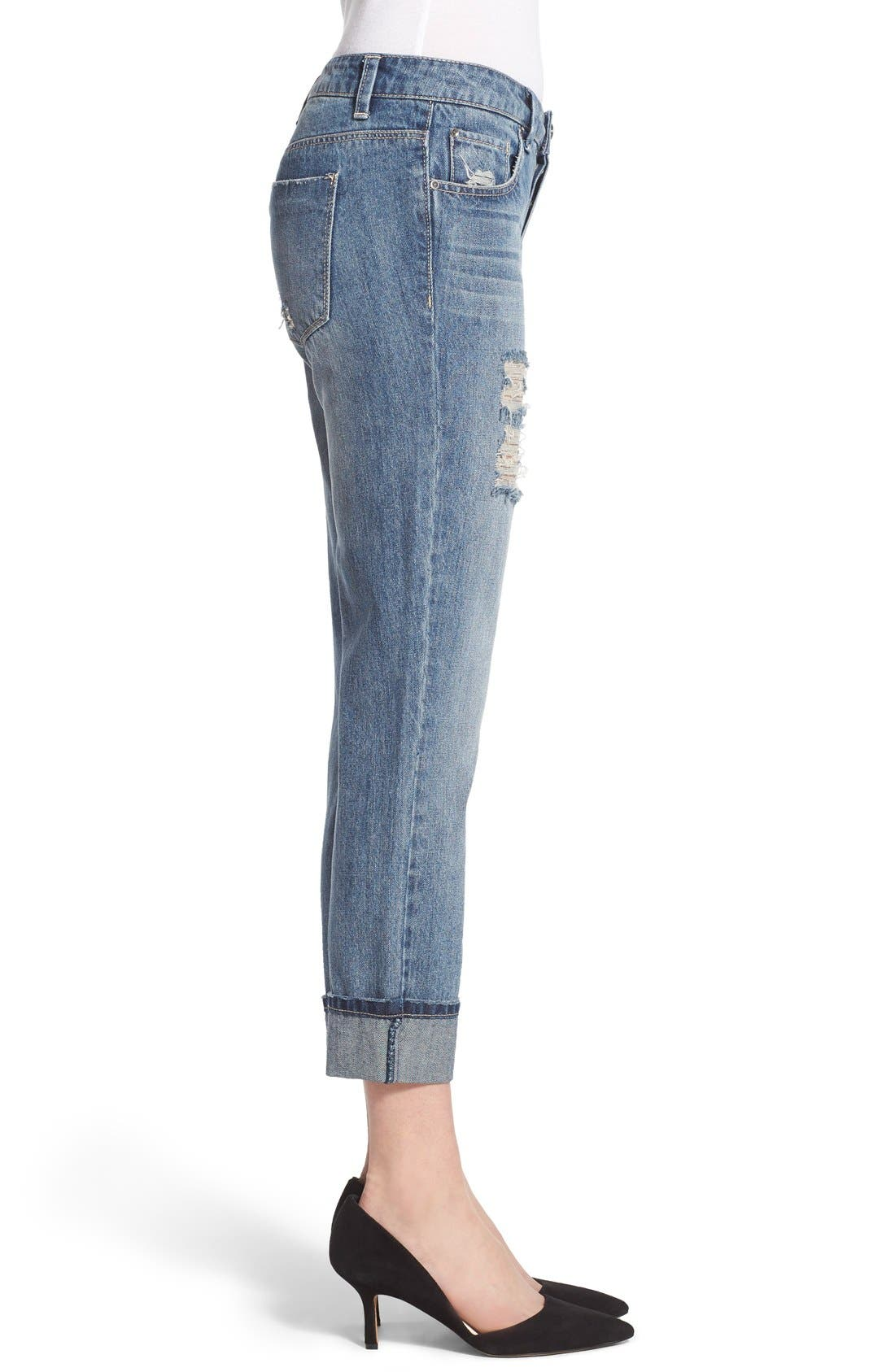 Alternate Image 3  - Generra Distressed Slim Boyfriend Jeans (Carren)