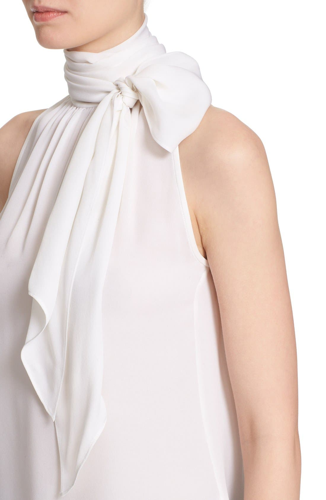 Alternate Image 6  - St. John Collection Tie Neck Silk Georgette Shell
