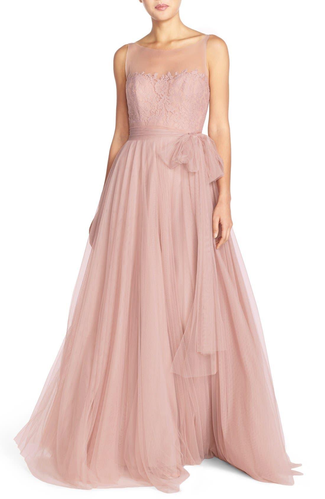 Watters 'Lisa' Illusion Yoke Lace & Bobbinet A-Line Gown