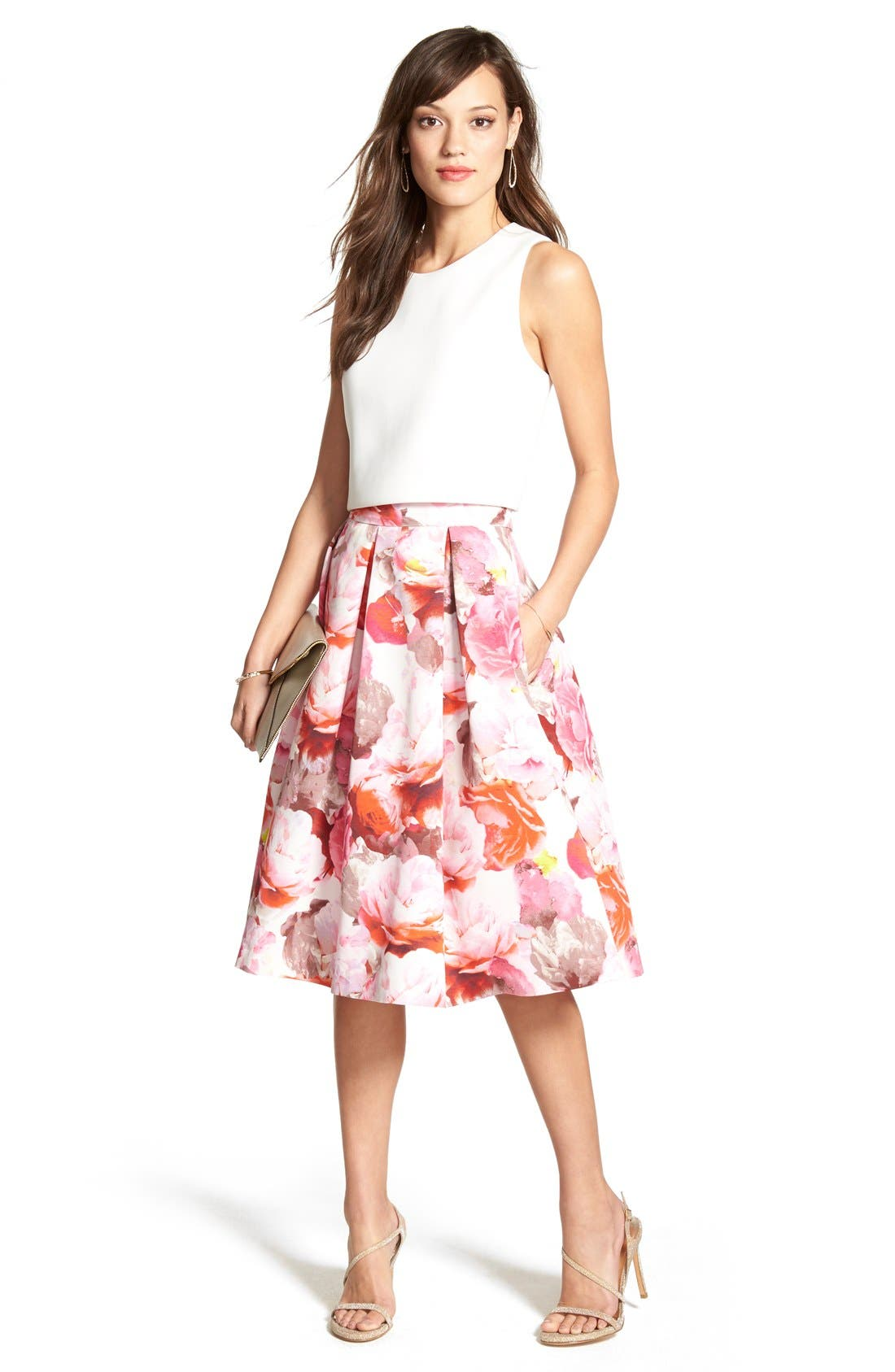 Alternate Image 5  - Eliza J Floral Print Pleated Midi Skirt