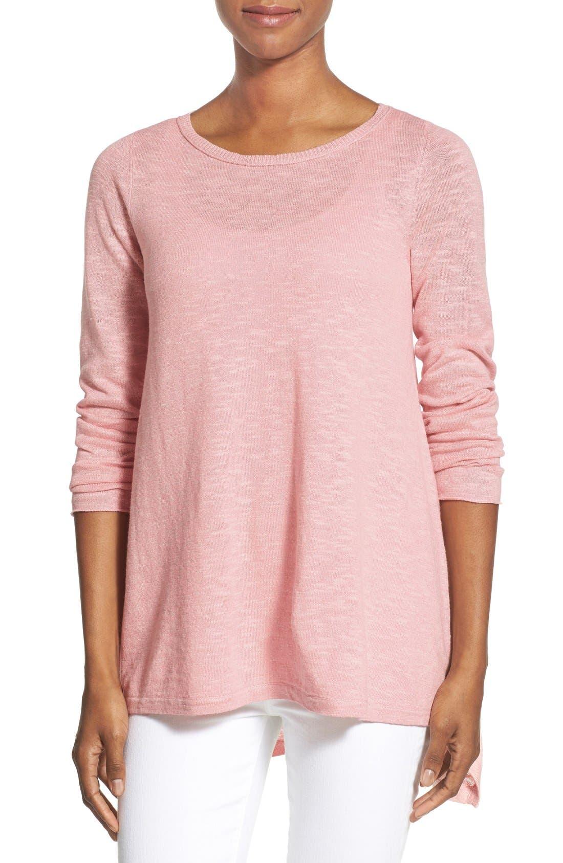 Main Image - Eileen Fisher Organic Linen & Cotton Bateau Neck Sweater (Regular & Petite)