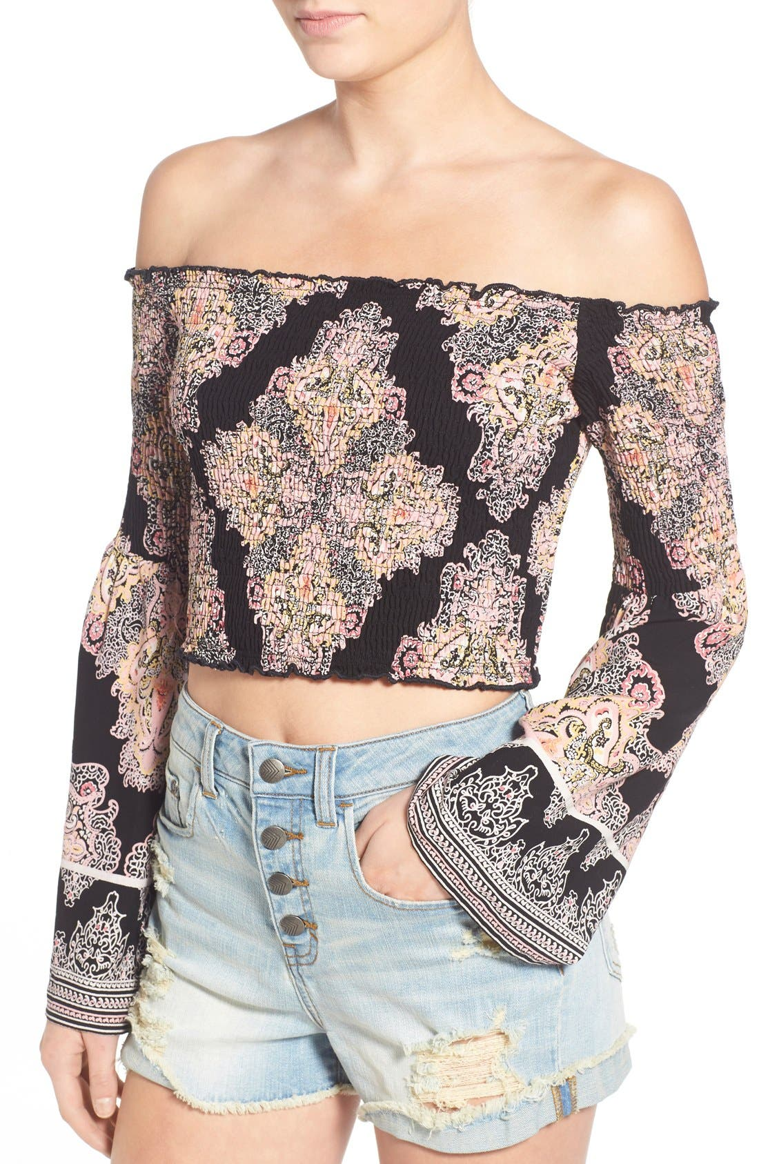 Alternate Image 4  - Band of Gypsies Paisley Print Off the Shoulder Top