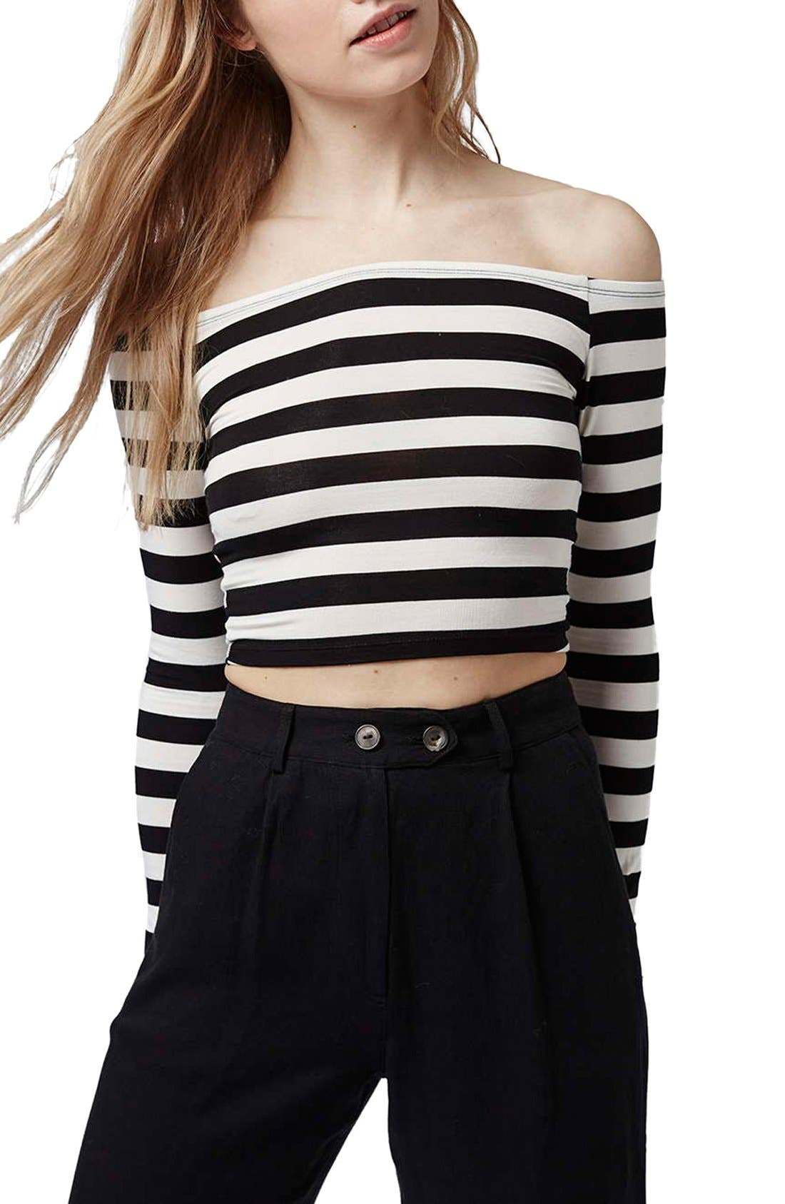 Main Image - Topshop Stripe Off the Shoulder Top