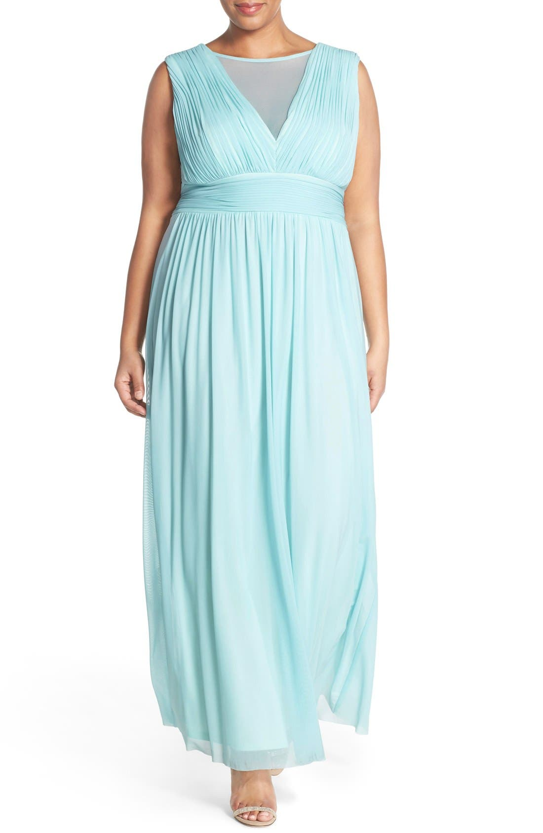 MARINA Illusion Neck A-Line Gown