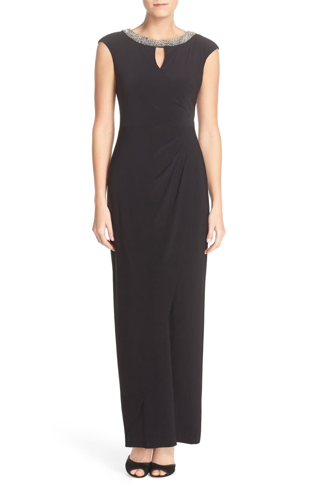 Main Image - Alex Evenings Beaded Neck Ruched Jersey Gown (Regular & Petite)