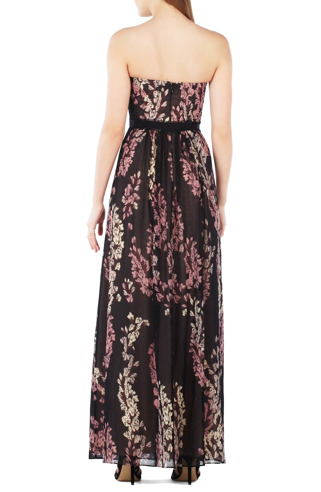 Alternate Image 2  - BCBGMAXAZRIA Strapless Floral Georgette Gown