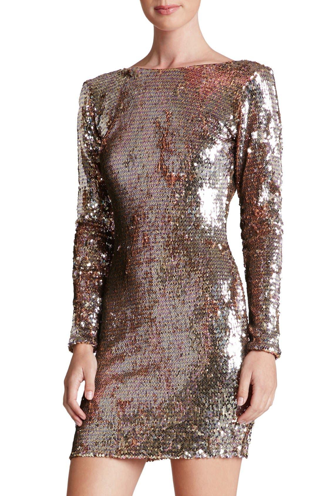 Main Image - Dress the Population 'Lola' Backless Sequin Minidress