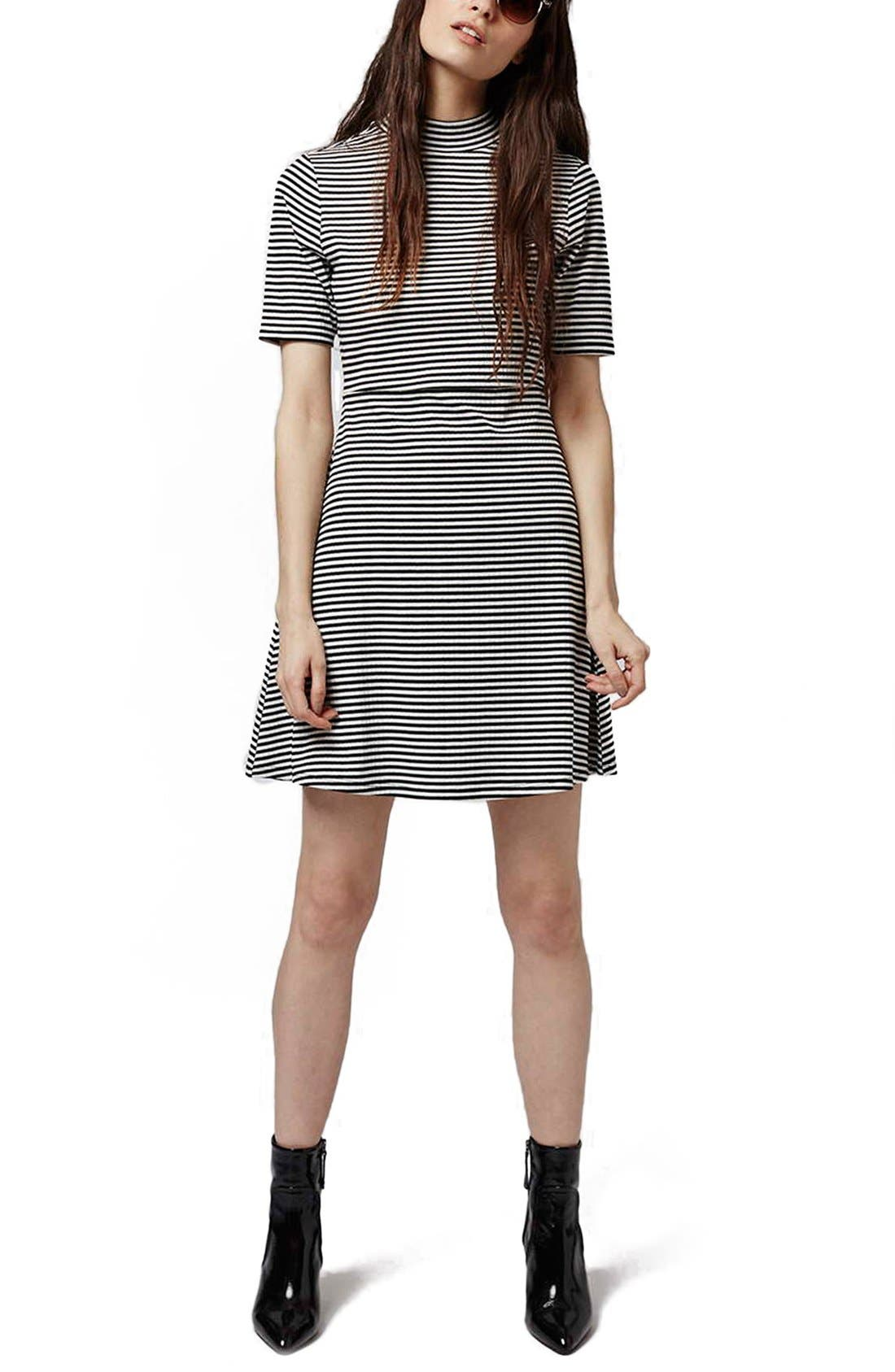 Main Image - Topshop Stripe Flippy Dress (Petite)
