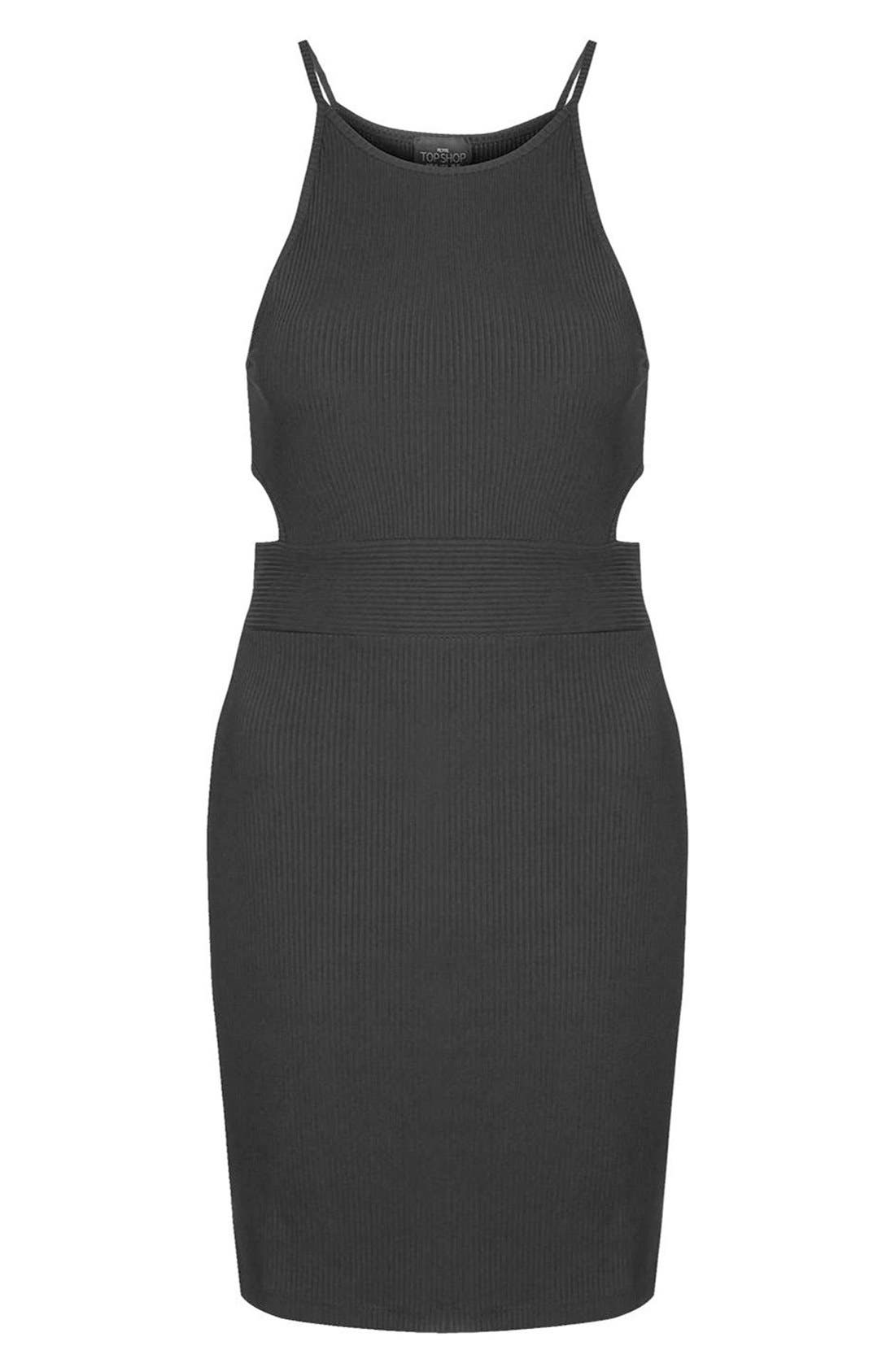 Alternate Image 6  - Topshop 'Sporty' Ribbed Knit Body-Con Dress (Petite)