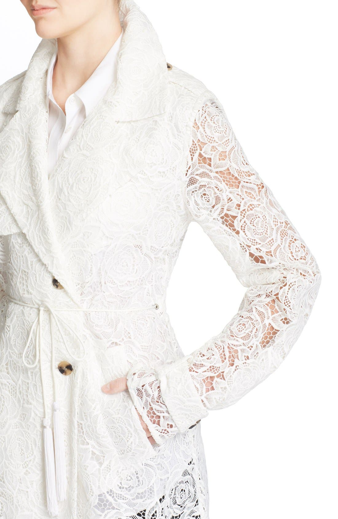 Alternate Image 4  - McQ Alexander McQueen Drawstring Floral Lace Trench