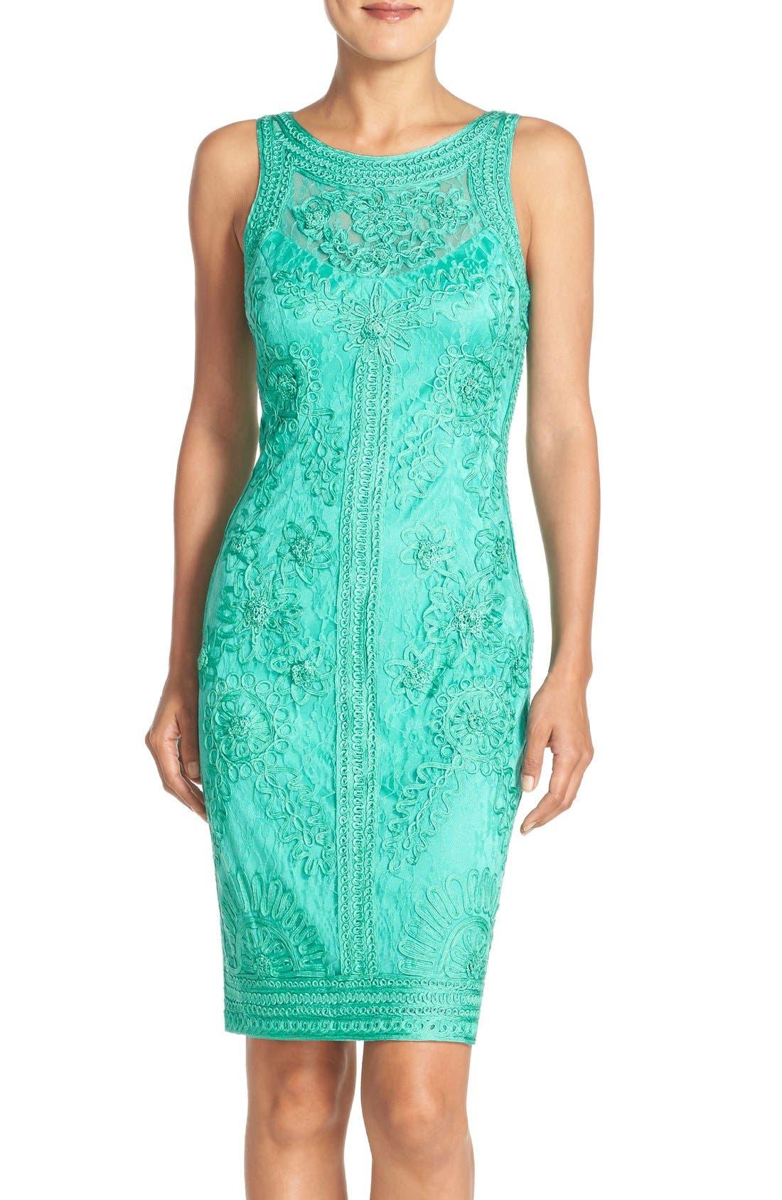 Main Image - Sue Wong Illusion Bodice Lace Sheath Dress