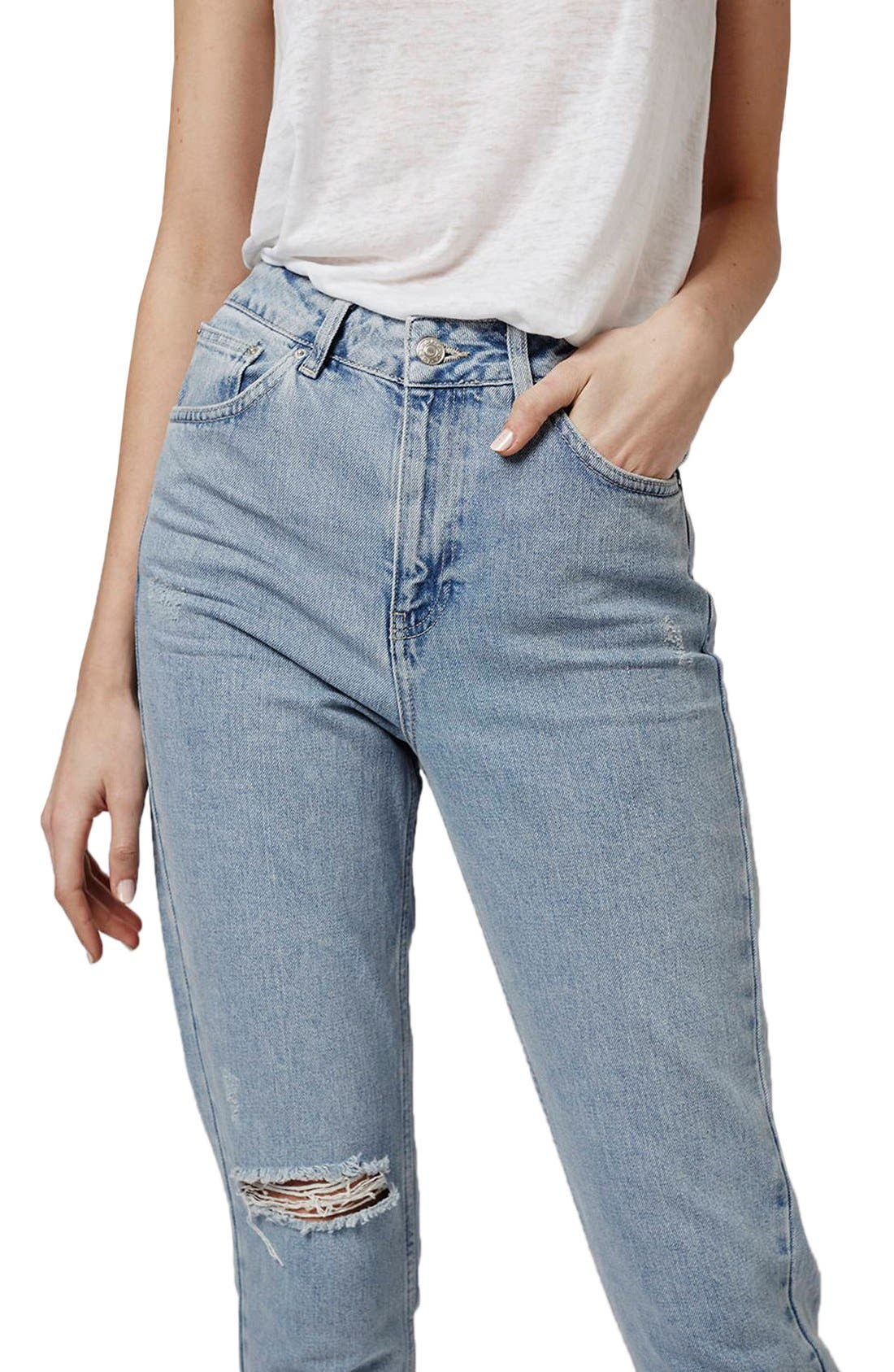 Alternate Image 5  - Topshop High Rise Ripped Mom Jeans (Regular & Petite)