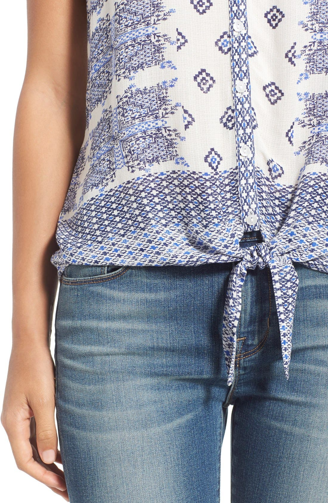 Alternate Image 4  - Lucky Brand Geo Print Sleeveless Tie Front Top