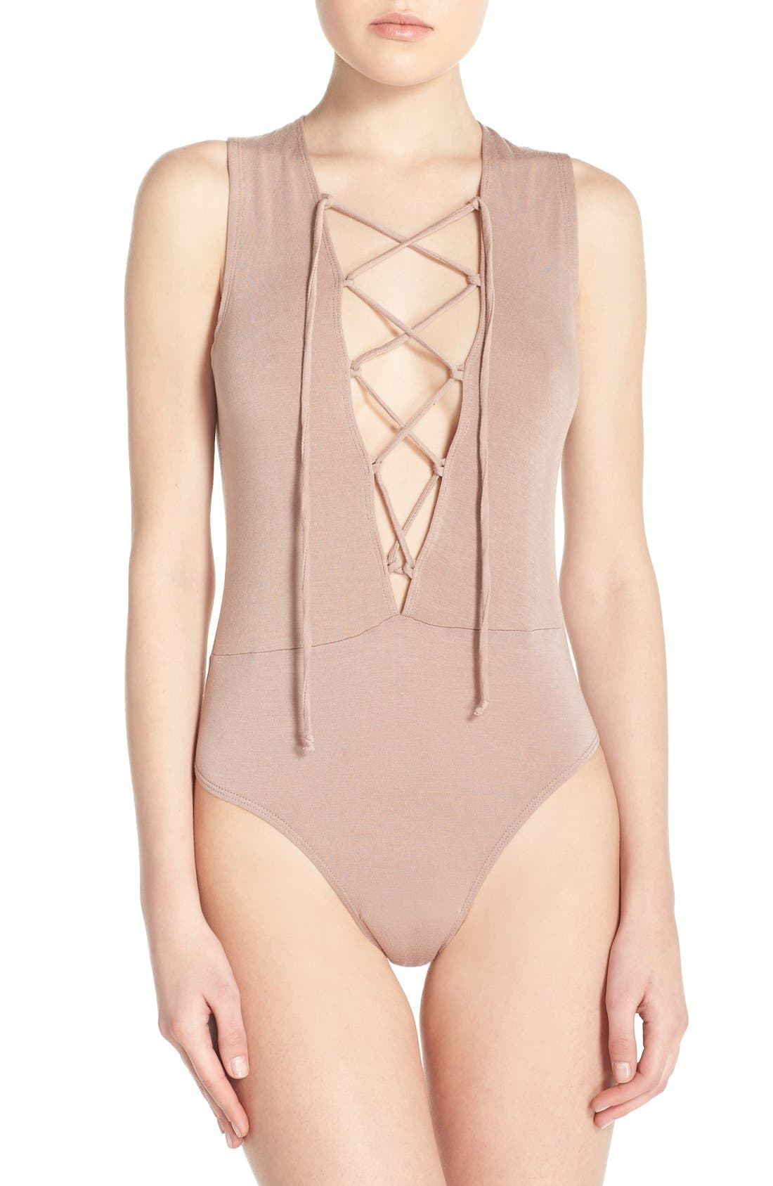 OLYMPIA THEODORA Stretch Modal Lace-Up Thong Bodysuit