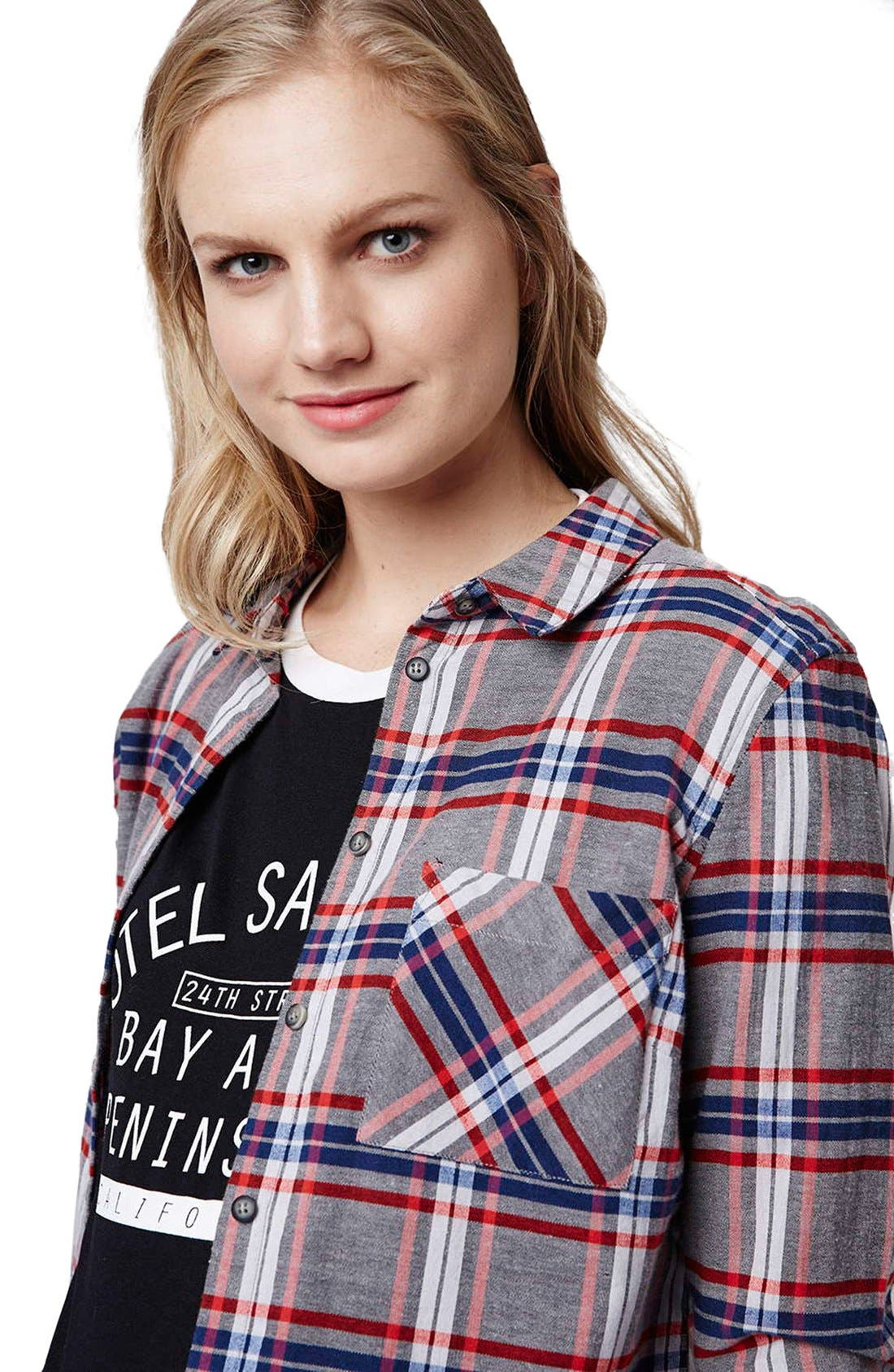 Alternate Image 5  - Topshop 'Boxing Day' Check Plaid Maternity Shirt