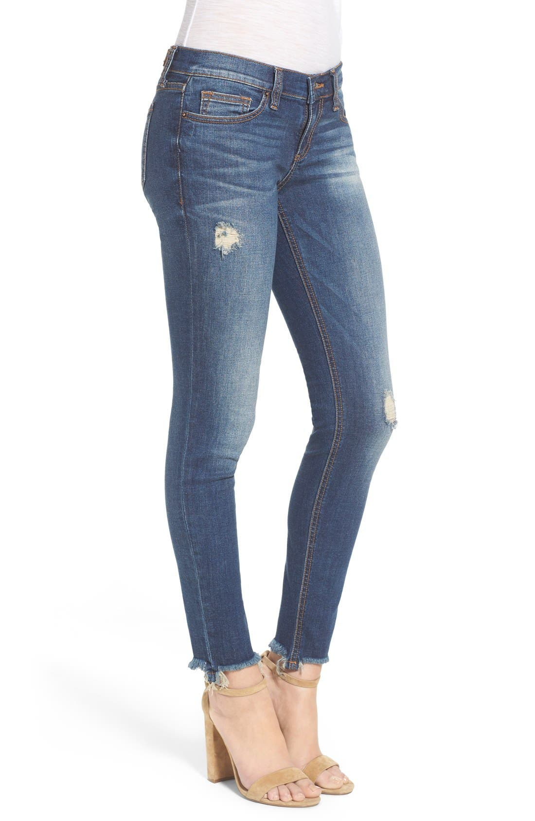 Alternate Image 3  - SP Black Distressed Raw Hem Skinny Jeans