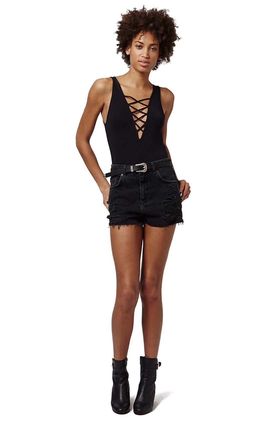 Alternate Image 2  - Topshop Elastic Strap V-Neck Bodysuit (Regular & Petite)