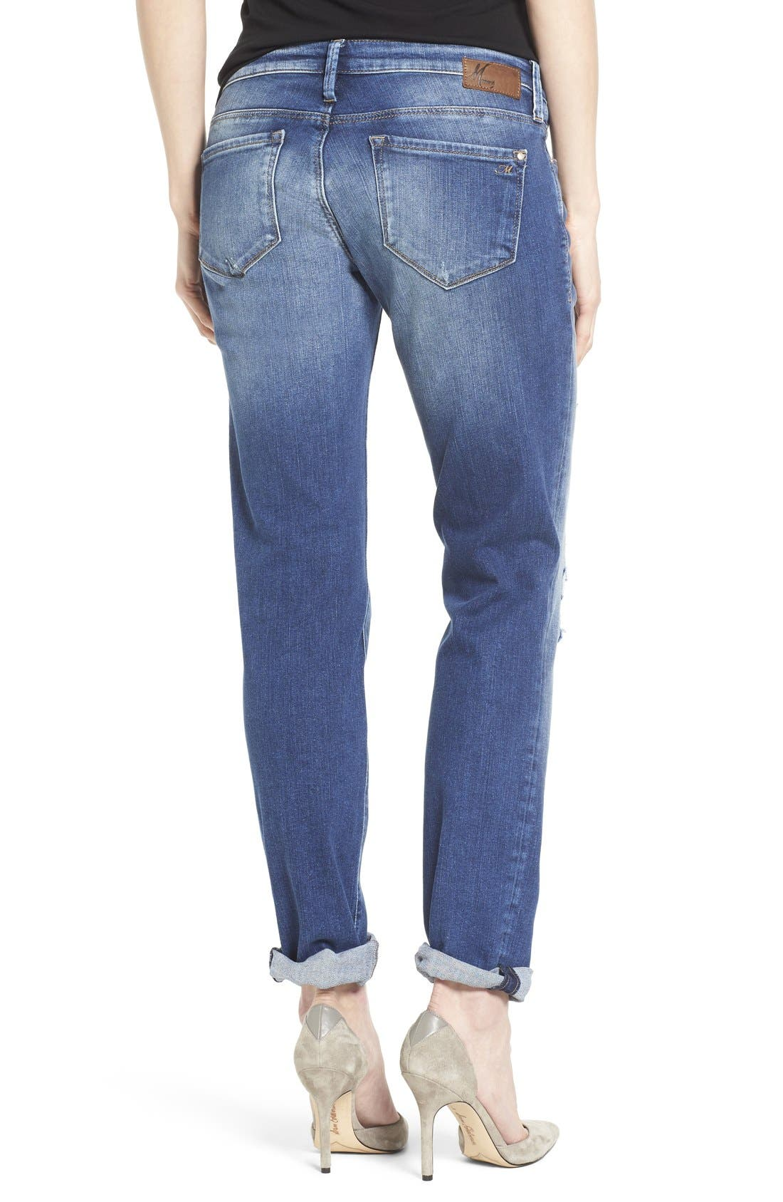Alternate Image 2  - Mavi Jeans 'Emma' Ripped Knee Boyfriend Slim Jeans (Vintage)