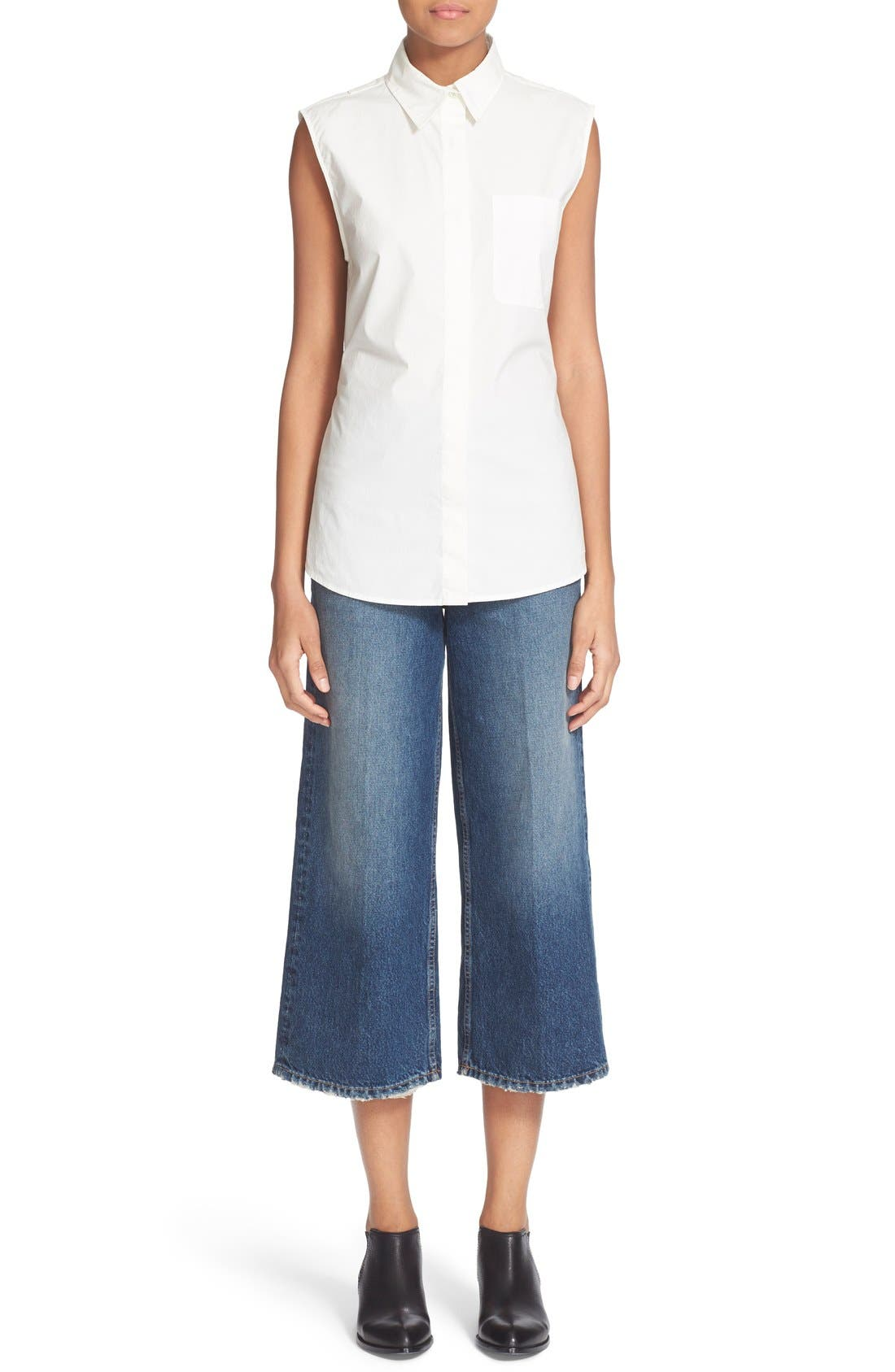 Alternate Image 2  - T by Alexander Wang Drill High Rise Wide Leg Crop Jeans