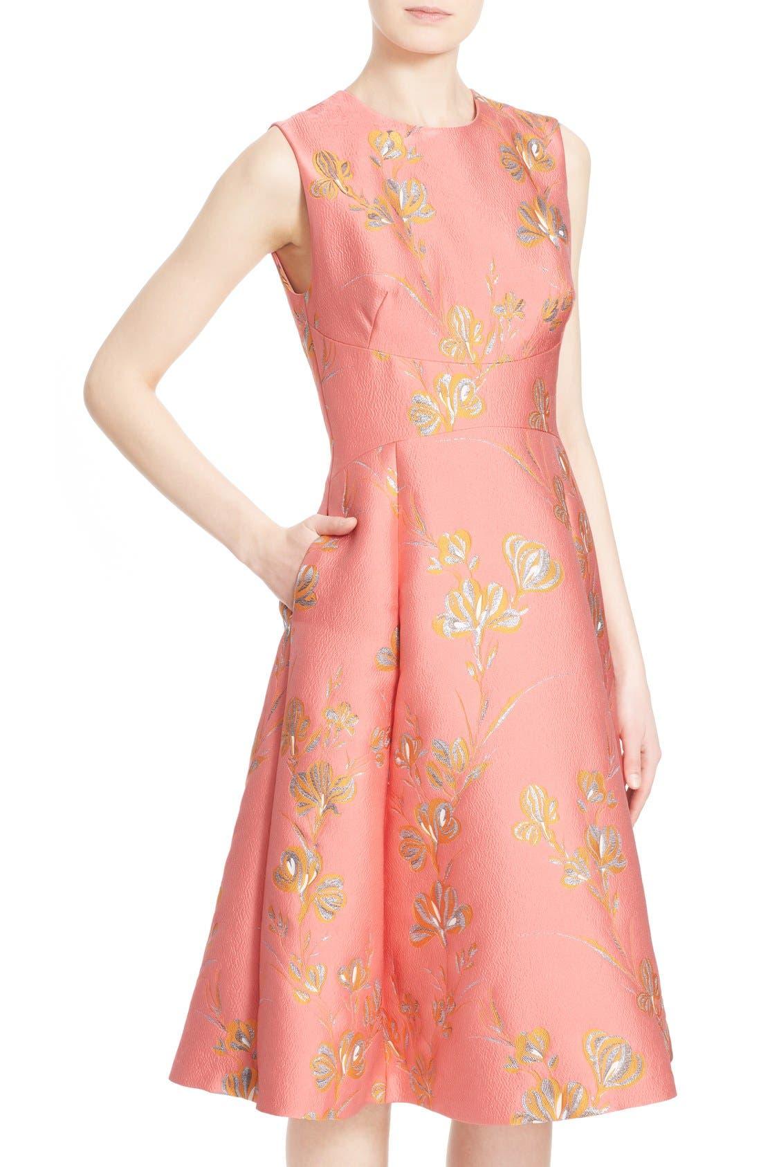 Alternate Image 6  - Lela Rose Vine Jacquard Fit & Flare Dress