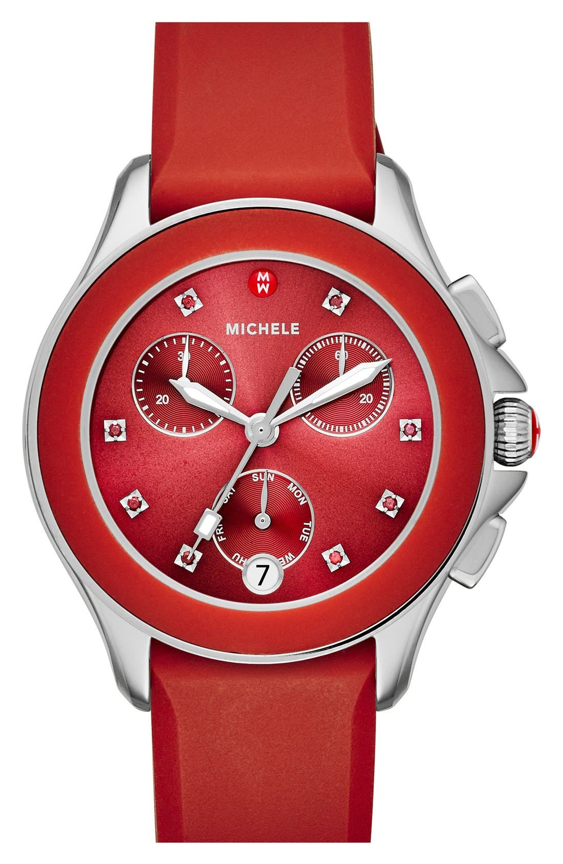 Main Image - MICHELE Cape Chronograph Silicone Strap Watch, 34mm