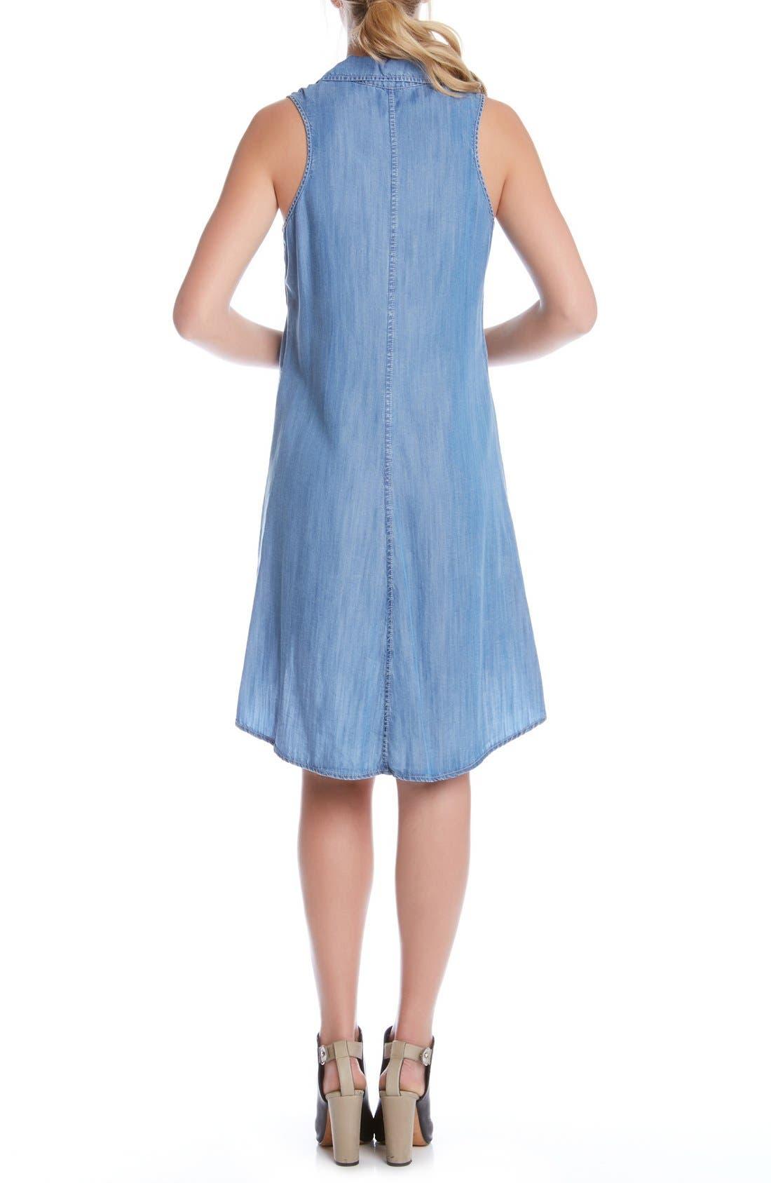 Alternate Image 3  - Karen Kane Sleeveless Chambray Trapeze Shirtdress