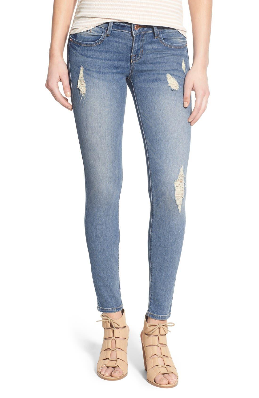 Alternate Image 1 Selected - SP Black Distressed Skinny Jeans (Light Wash)