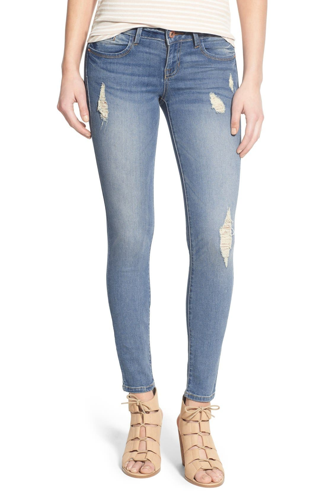 Main Image - SP Black Distressed Skinny Jeans (Light Wash)