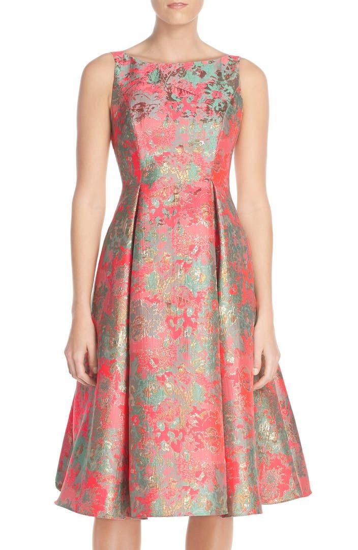 Adrianna Papell Metallic Jacquard Fit Amp Flare Dress