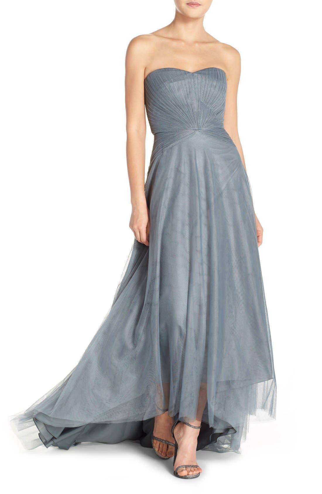 Main Image - Monique Lhuillier Bridesmaids Pleat Tulle Strapless Gown