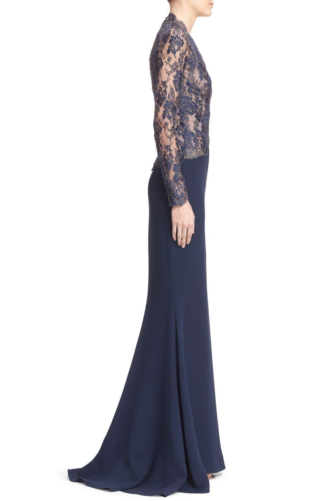 Alternate Image 4  - Reem Acra V-Neck Lace & Silk Crepe Trumpet Gown