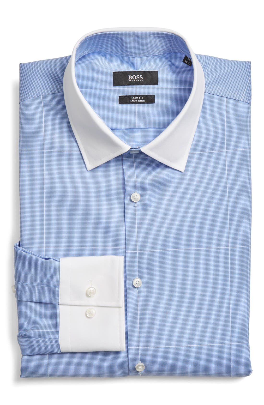 Main Image - BOSS WW Slim Fit Easy Iron Check Dress Shirt