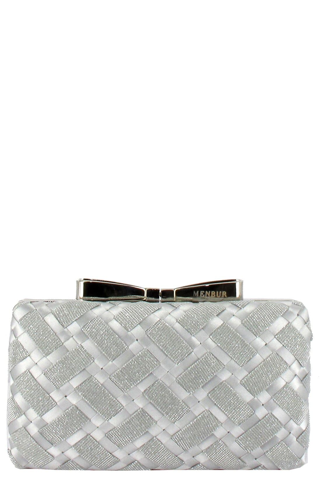 Main Image - Menbur Woven Box Clutch with Bow Clasp