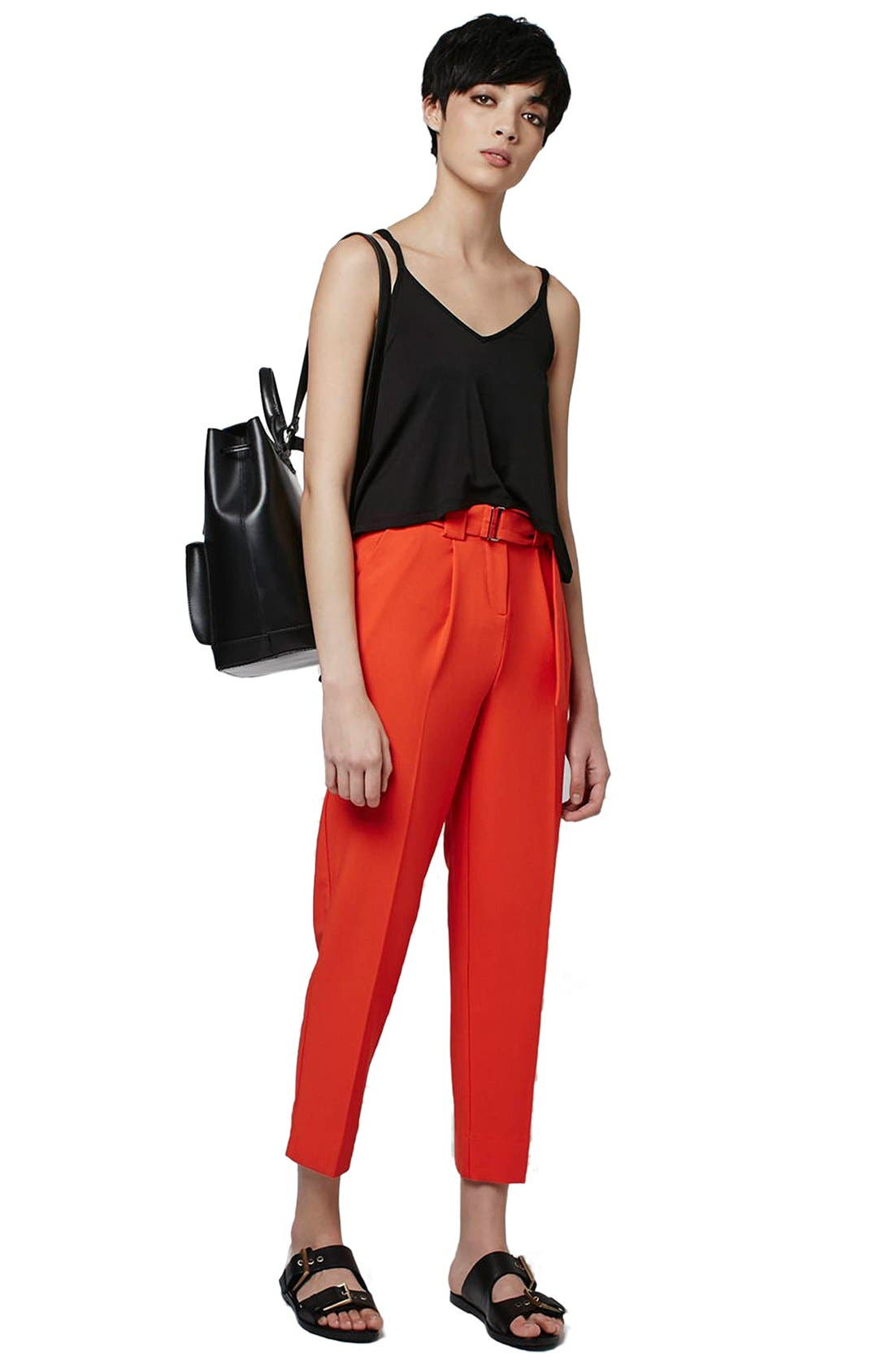 Alternate Image 2  - Topshop Belted Peg Trousers