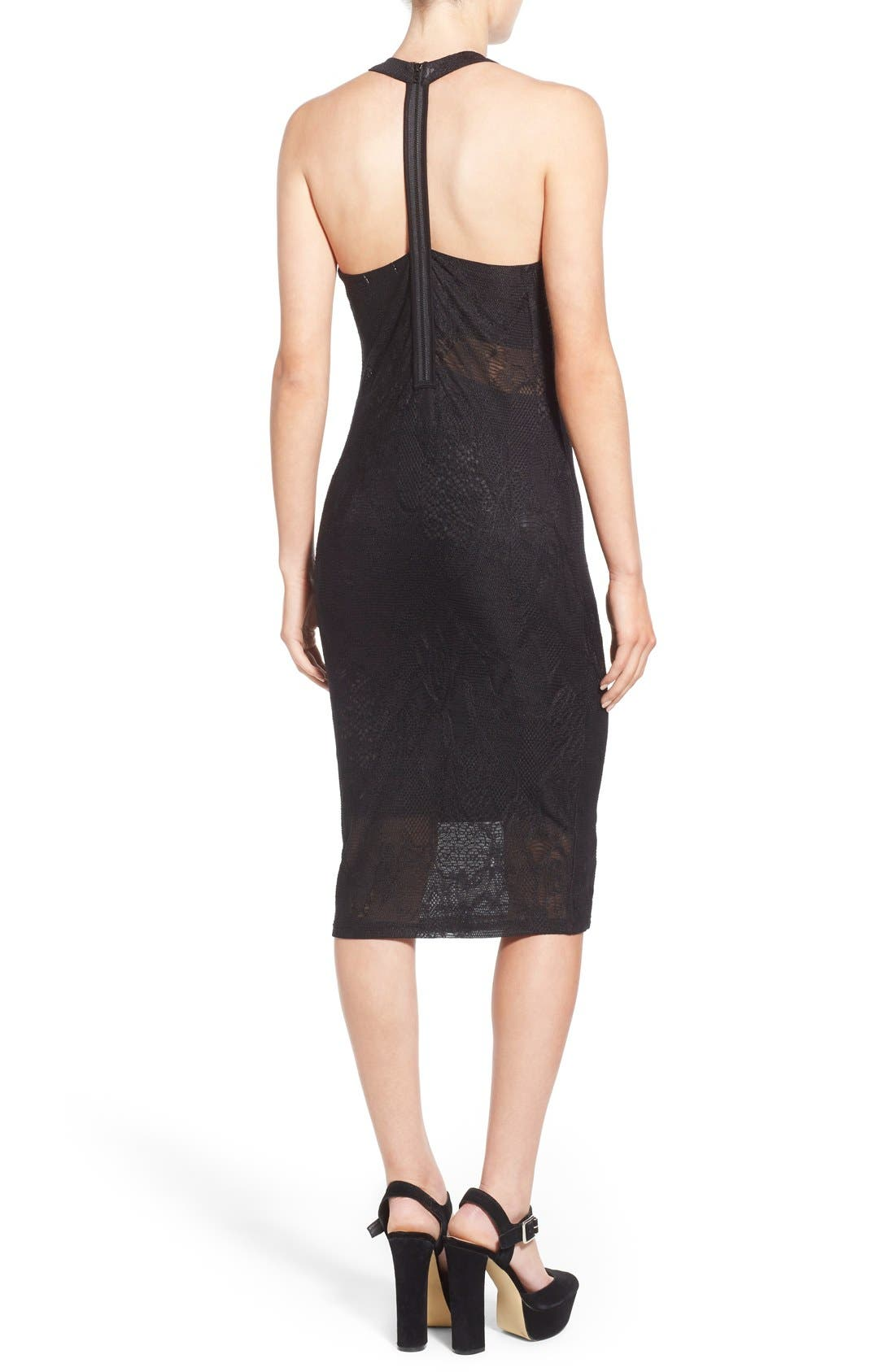 Alternate Image 2  - Leith Floral Mesh Overlay Body-Con Dress