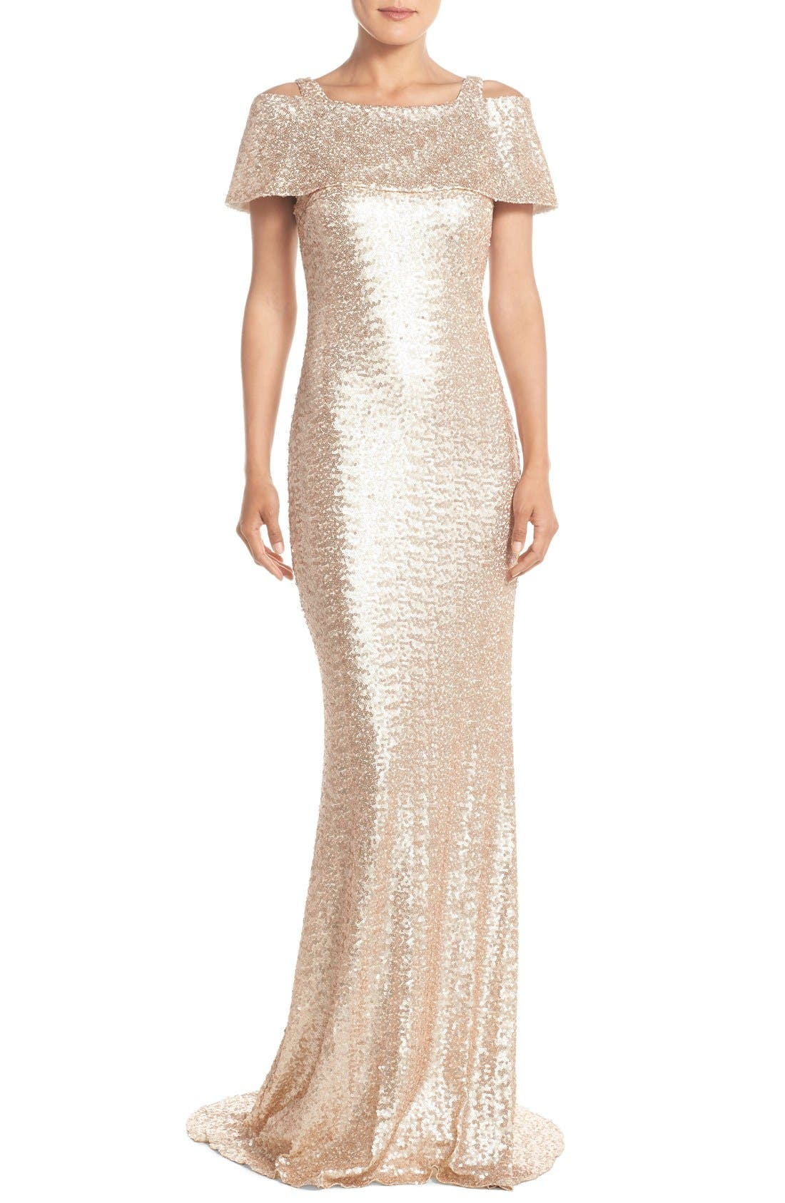 Main Image - Badgley Mischka Cold Shoulder Sequin Body-Con Gown