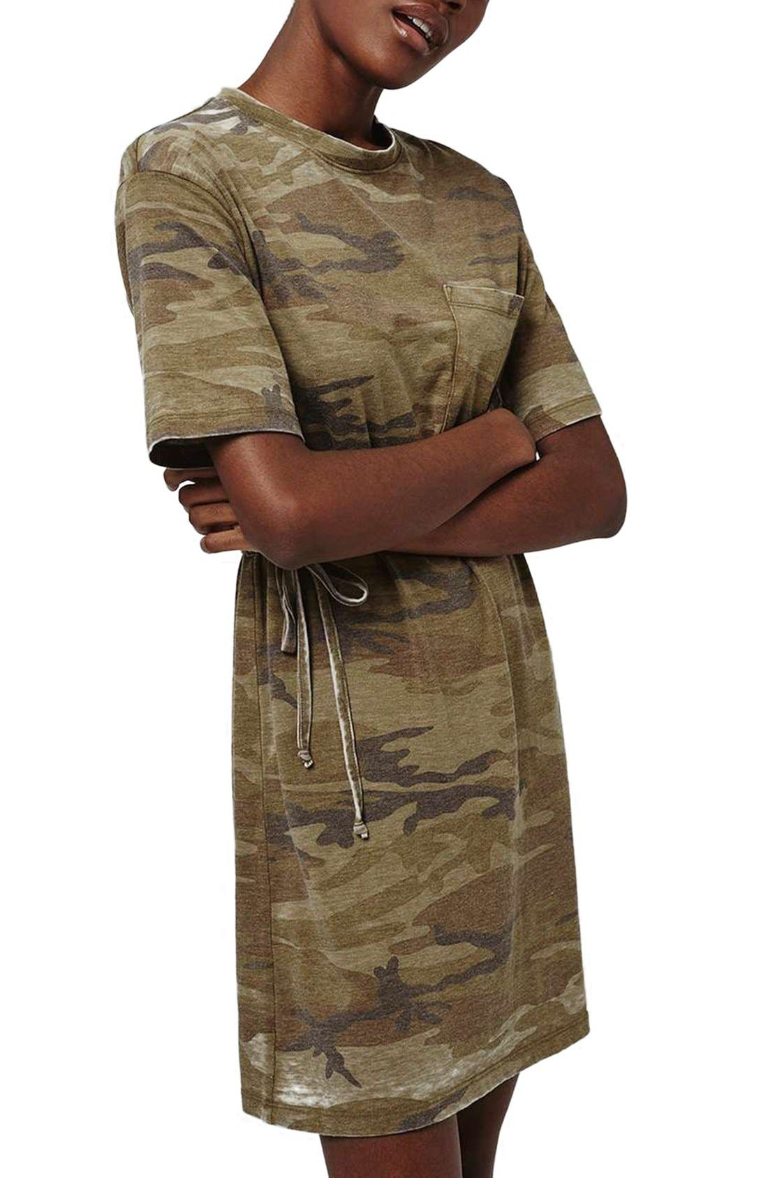 Alternate Image 3  - Topshop Belted Camo Print T-Shirt Dress