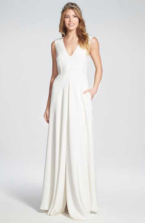 Houghton 'Grady' Sleeveless Silk V-Neck Gown