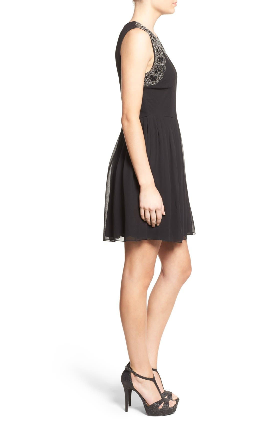 Alternate Image 3  - Lace & Beads 'Becky' Embellished Skater Dress