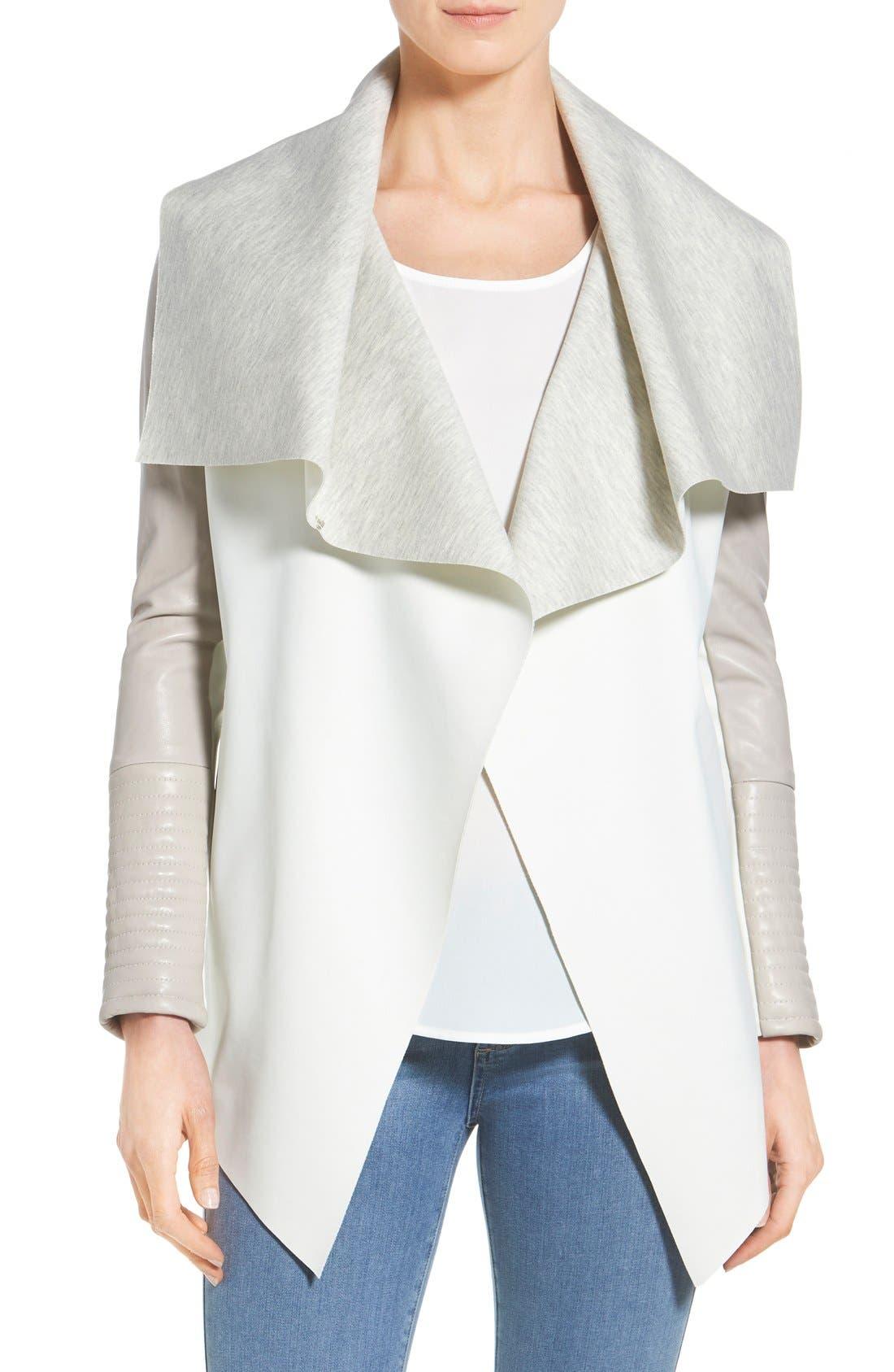 Main Image - Rudsak 'Lamony' Leather Sleeve Neoprene Drape Collar Jacket