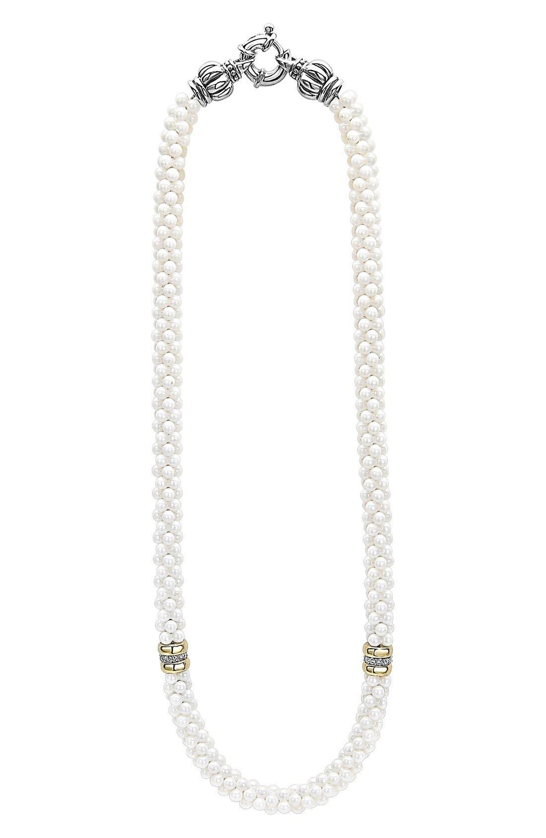 LAGOS 'White Caviar' 7mm Beaded Diamond Station Necklace